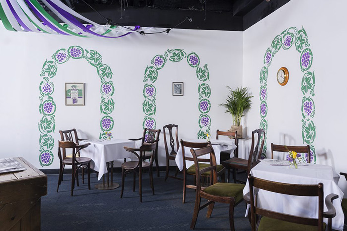 A recreation of the Gardenia restaurant as part of the Suffragette City project. Image courtesy of the National Trust.
