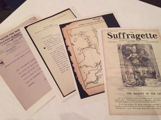 Copies of records displayed at the exhibition, including a copy of 'The Suffragette'