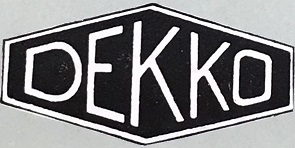 A trade mark for Dekko registered in 1938 (catalogue reference BT 82/1383, design number 585505). Dekko manufactured cine cameras and projectors between the 1930s and 1950s.