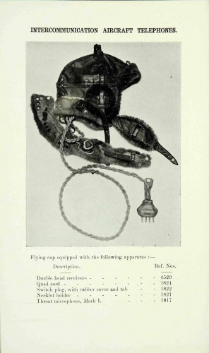 Image from a 1918 handbook with examples of aircraft telecommunications headwear (cat ref: AIR 10/100)