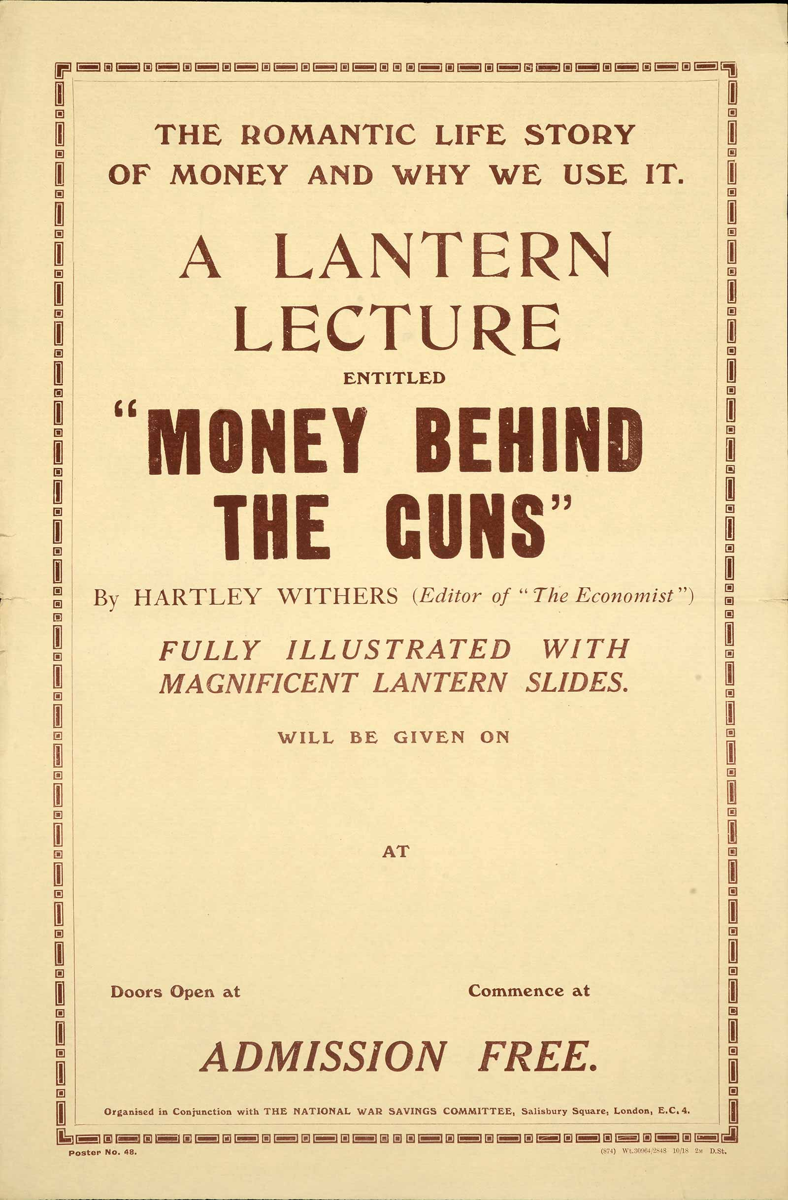 Image of poster advertising a lantern lecture called 'The Money Behind the Guns'