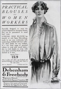 Image of a magazine advert for 'practical blouses for women workers'